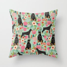 Doberman Pinscher florals must have dog breed gifts for dog person with doberman Throw Pillow