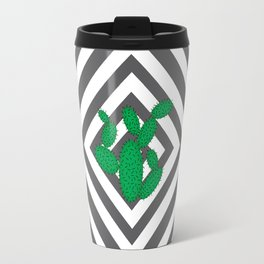 Cactus - Abstract geometric pattern - gray and white. Travel Mug