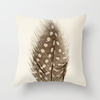 feather Throw Pillows featuring Feather by Mina Teslaru