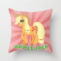 mlp Throw Pillows featuring MLP FiM: Applejack by Yiji