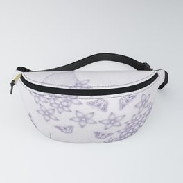 Violet butterflies and flowers on textured background Fanny Pack