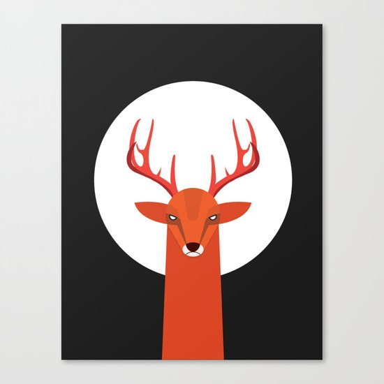 Deer and Moon Canvas Print