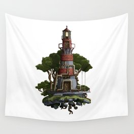 Lighthouse Pixel Art Wall Tapestry
