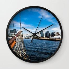 Boat Sailing on Oslo Fjord Wall Clock