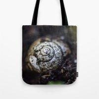 snail Tote Bags featuring Snail by Gehirnzellenoptik