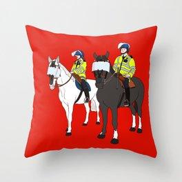 London Metropolitan Horse Cops Throw Pillow