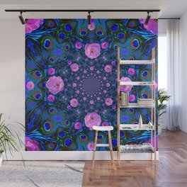 DECORATIVE HUNDRED  PINK ROSES & BLUE  ABSTRACT Wall Mural