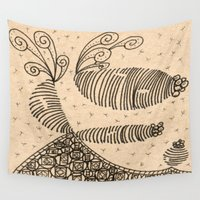 bugs Wall Tapestries featuring Slug Bugs by Lady Tanya bleudragon
