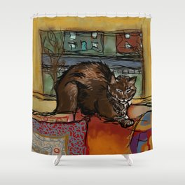 The Leisurely Cat Shower Curtain