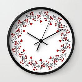 Wreath with hearts Wall Clock