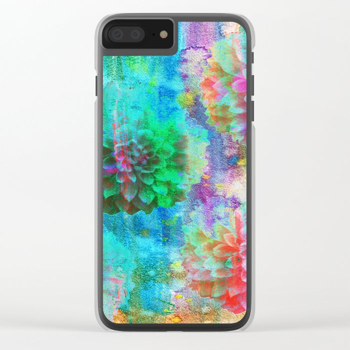Colorful Dahlias Q Clear iPhone Case