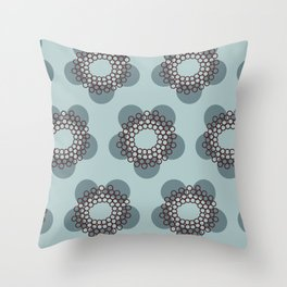 Flower Power surface pattern (blue) Throw Pillow