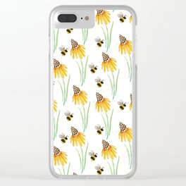 Rudbeckia Cone Flowers & Bumble Bees Clear iPhone Case