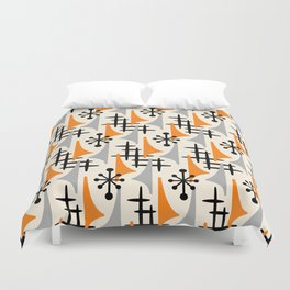 Mid Century Modern Atomic Wing Composition Orange & Gray Duvet Cover