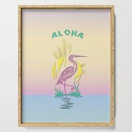 Aloha Flamingo on Hawaiian Sunset Serving Tray