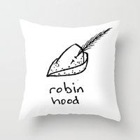 robin hood Throw Pillows featuring Robin Hood by Isaac Collmer