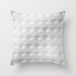 Silver hearts caught in a web Throw Pillow