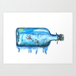 Lobster, ocean art, sea life, watercolor Lobster Art Print