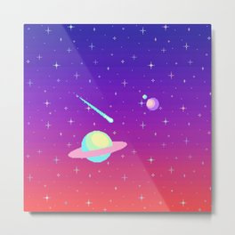 Pixelated Galaxy Metal Print