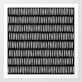 Classy Handpainted Stripes Pattern Black, Scandinavian Design Art Print