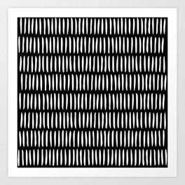 Classy Handpainted Stripes Pattern Black, Scandinavian Design Art Print