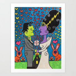 Bride and Frank get Hitched!! Art Print