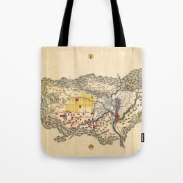 Map of Yamashiro province (with Kyoto), 19th century Japan Tote Bag