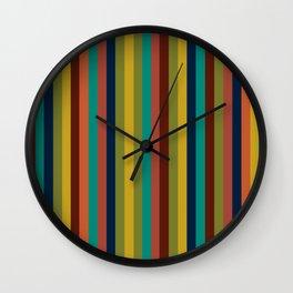 Joseph Stripes II Vertical Midcentury Modern Stripe Pattern in Mid Mod Colors Wall Clock