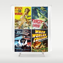 50s Sci-Fi Movie Art Collage #13 Shower Curtain