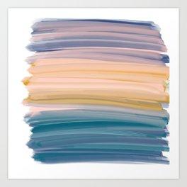 Oil Brush Strokes in Soft Pastel Earth Tones Art Print