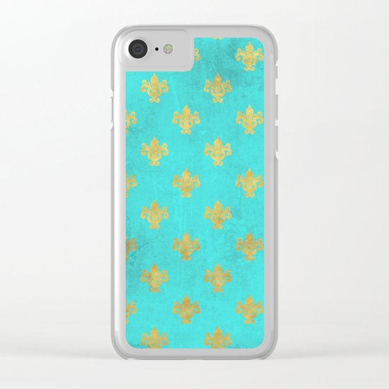 Queenlike on aqua I  Gold Heraldy elements on turquoise backround Clear iPhone Case