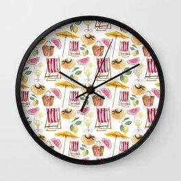 Summer pink yellow watercolor watermelon lemon nautical pattern Wall Clock