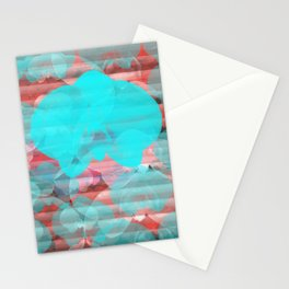 Orchid Print Abstract Graphic Art Blue Red  Stationery Cards