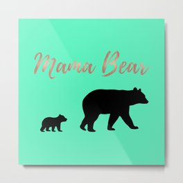 Mama Bear - Mint Metal Print