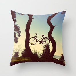 Bicycle Tree Throw Pillow