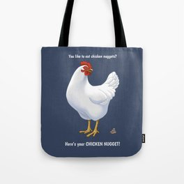 Funny White Hen Chicken Nugget Poop Tote Bag