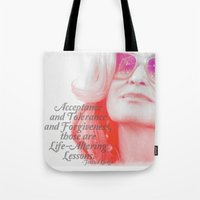 jessica lange Tote Bags featuring Jessica Lange Quote by NameGame