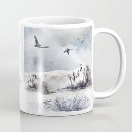 Soaring Above Sandy Beaches Against Stormy Skies Coffee Mug