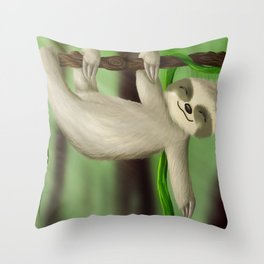 Just slothin' Throw Pillow