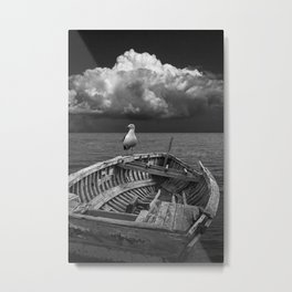 Black & White of Shipwrecked Boat with Gull and Billowing Cloud Metal Print