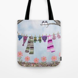winter's over clothesline with juncos Tote Bag