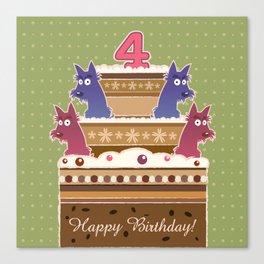 Birthday cake scotties - 4 years! Canvas Print