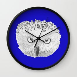 Snowy Owl Bright Blue Wall Clock