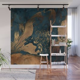 Emerald Indigo And Copper Glamour Marble Wall Mural
