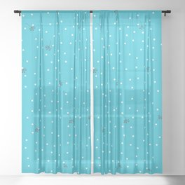 flying dandelion seeds simple Christmas seamless pattern and White Confetti on Blue Scuba Background Sheer Curtain