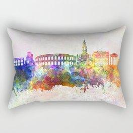 Nimes skyline in watercolor background Rectangular Pillow
