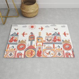 Small fairy-tale houses with cute animals and birds. Rug