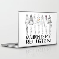 religion Laptop & iPad Skins featuring Fashion is My Religion by Michali's Studio
