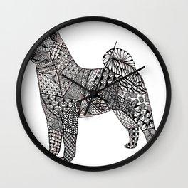 Tangled Akita Dog Wall Clock
