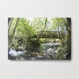 Bridal Veil Falls OR Forest Bridge Metal Print